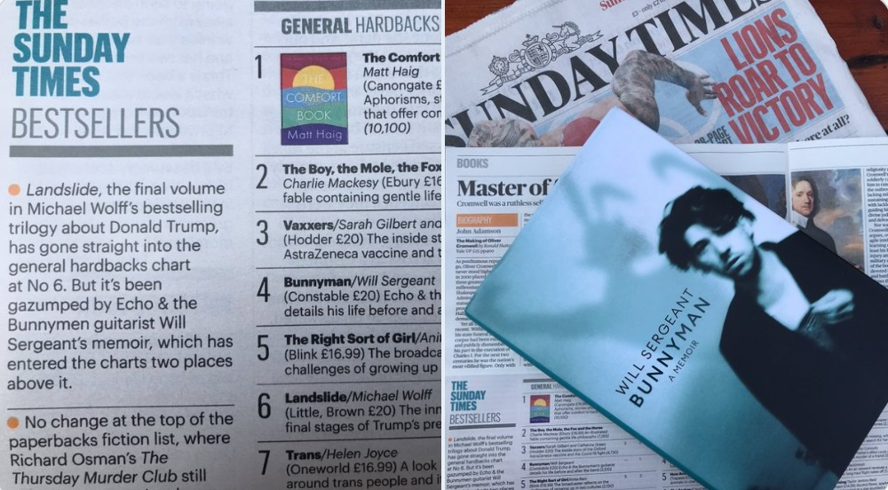 Bunnyman straight in at number 4 on The Sunday Times bestseller list